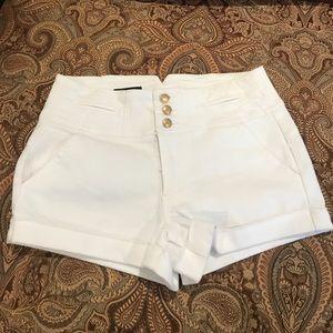 Bebe white high waisted shorts