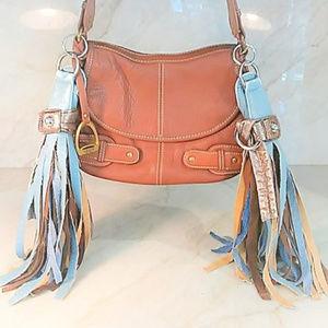 Brown Chaps Lthr Purse Shoulder Bag Fringe Handbag