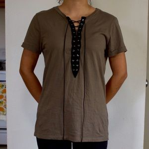 Olive Green Lace Up Tee