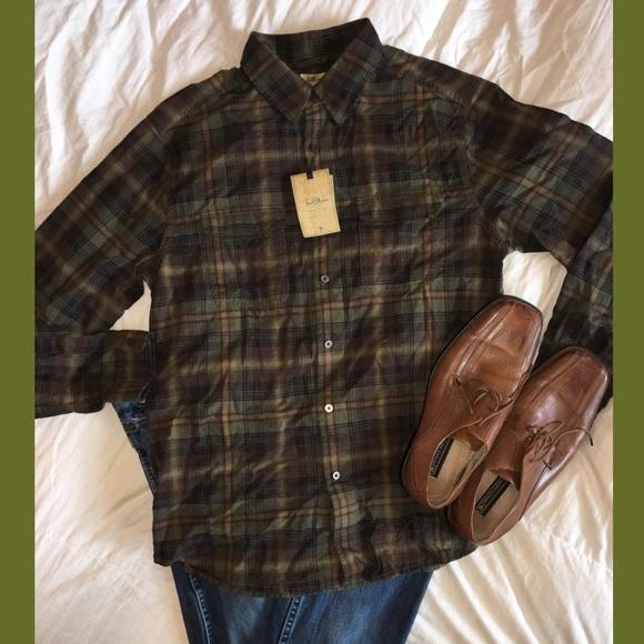 cd22c9705a2 TreVero Men's Button Up olive Green Plaid Shirt NWT