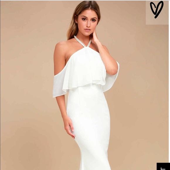 Lulu S Dresses Lulus Ivory Maxi Gown Beach Wedding Semiformal