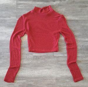 Burgundy Leslie Cropped Sweater Long Sleeve