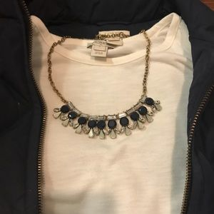 J crew statement necklace - gold navy and silver