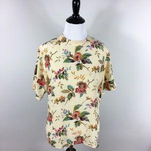 Oscar De La Renta 100% Silk Floral Short Sleeve s