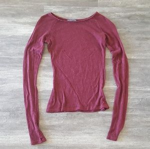 Burgundy Basic Melville Thin Sweater