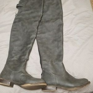 OTK faux leather gray boots (JustFab)