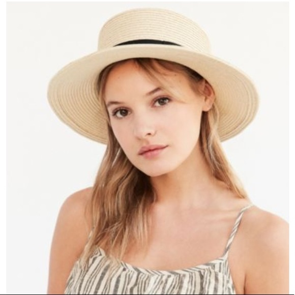 0f9336325eba4 New Ecoté Straw Boater Hat with Black Bow