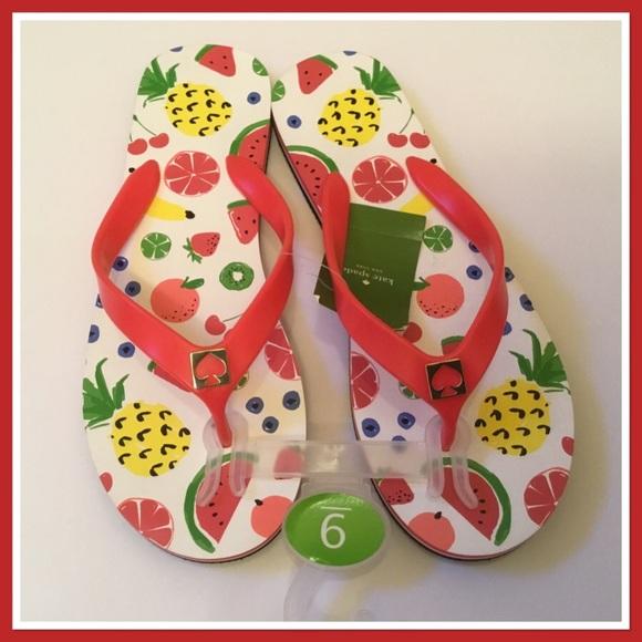 34267eafc097 Kate Spade Fruit Flip Flops Crab Red - NWT Size 9