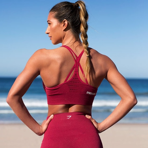 da755940481 gymshark Tops | Gym Shark Seamless Sports Bra In Beet Marl Small ...