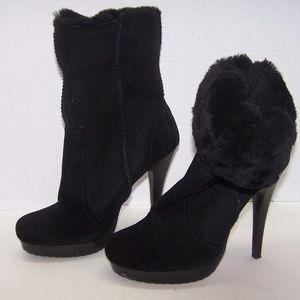 Charles David Suede Faux Fur Lined Ankle Boots