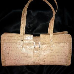 Croc Embossed Leather Handbag