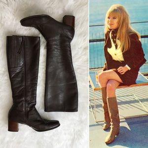 '70s / Cobbies Brown Leather Knee Highs