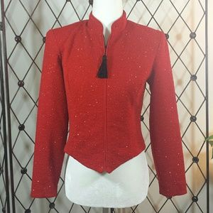 Jessica Howard Petites Red Sparkle Blazer