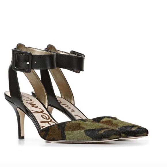 7863390622bc8 Sam Edelman Okala Camo ankle strap shoes 8.5 heel.  M 59cee5fd13302a6dff02ceba