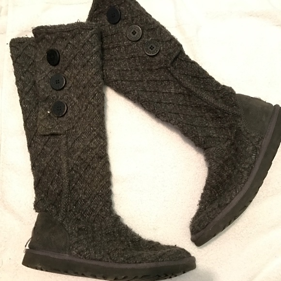 UGG Shoes - UGG lattice cardy charcoal boots UGG® Australia Bailey Button .
