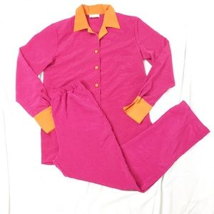 Vintage 90s Pink & Orange Leisure Suit Set