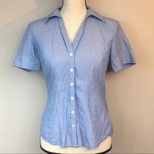 LOFT Light Blue Pleated Button Up Tee Size 2