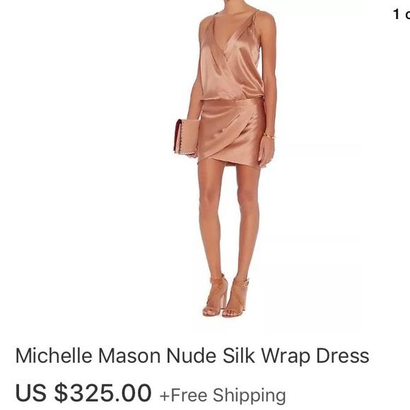 a47760dc41e  450 Michelle mason silk rose gold nude wrap dress.  M 59cee9f799086adbc902d8dc