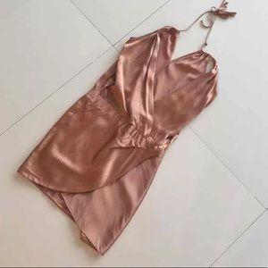 cfad8c6763c Mason Dresses -  450 Michelle mason silk rose gold nude wrap dress
