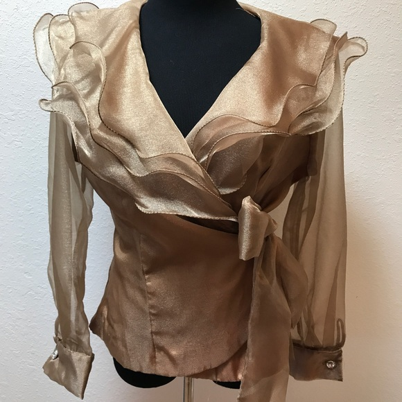 Vintage Tops - Vintage Gold Ruffles wrap blouse top