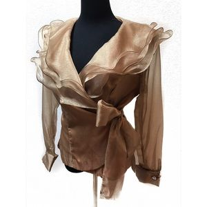 Vintage Gold Ruffles wrap blouse top