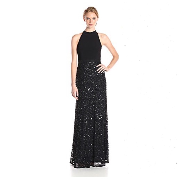Adrianna Papell Black Halter Jersey Beaded Gown | Poshmark