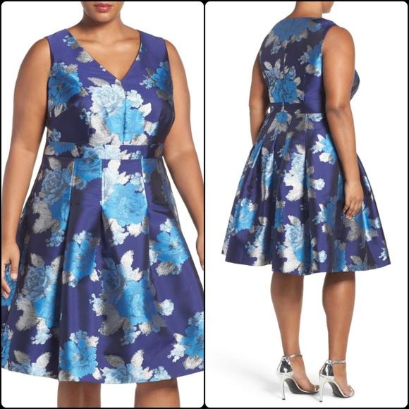 9ec278e4c Eliza J Dresses & Skirts - Eliza J Metallic Jacquard Fit & Flare Dress