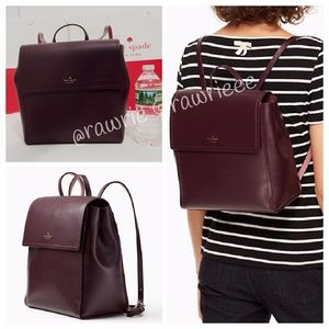 New Kate Spade Smooth Mahogany Leather Backpack