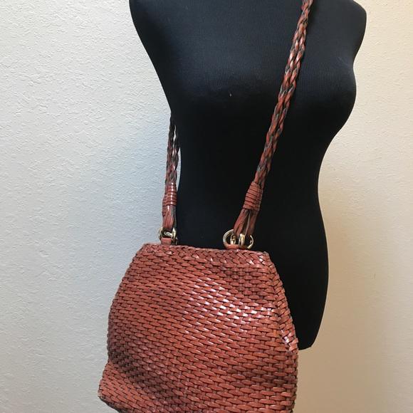 Vintage Bags - Cute braided leather vintage cross body bag