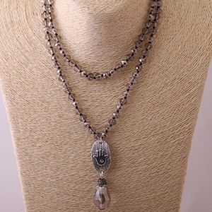 Jewelry - Brand New-Knotted Necklace with glass pendant