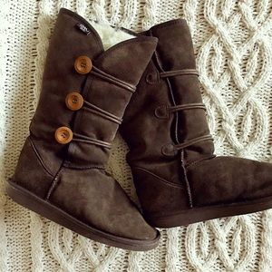 Emu Wool Chocolate Brown Suede Tall Button Boots