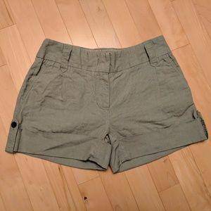 "EUC J.Crew City Fit Linen 4"" Olive Shorts w/ Belt"