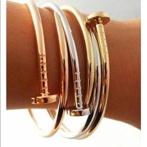 Minimalist Nail Love Delicate Bracelet Cuff Bangle