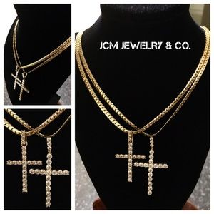 Other - 14K Gold Plated Miami Cubans w/ Duo Iced Crosses