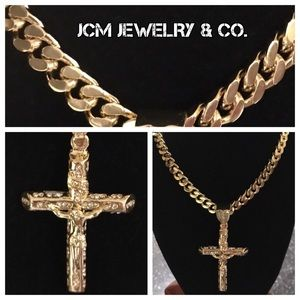 "Other - 14K Gold Plated Cuban Link Necklace w/ 3"" Crucifix"
