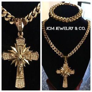 Other - 14K Gold Plated Cuban w/Crucifix/Matching Bracelet
