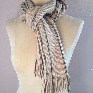 Gap 100% Lambswool Camel Beige & Tan Striped Scarf