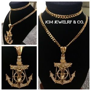Other - 14K Gold Plated Cuban Necklace/Bracelet w/ Anchor