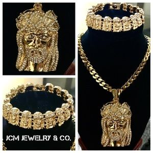 Other - 14K Gold Plated Cuban Necklace & Bracelet w/ Jesus
