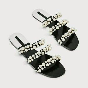 Zara Pearly Strappy Sandals Slides 8