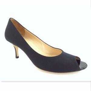 BRUNO MAGLI Size 7.5 AA Black Open Toe Heel Pump