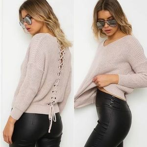Sweaters - NEW Light Pink Sweater with Tying Back