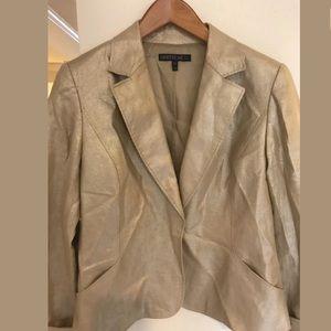 Lafayette 148 Women's Gold Shiny One button Jacket