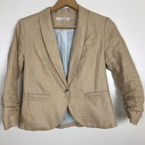 Gibson Ruched Sleeved Tan Linen Blazer Jacket