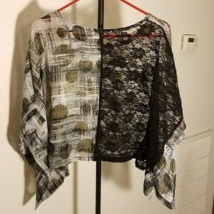 Unique blouse w/ butterfly sleeves & lace back