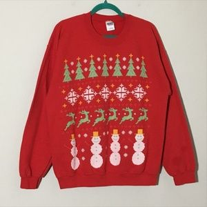 Tops - Ugly Christmas Sweater Trees Snowmen Pixel Red