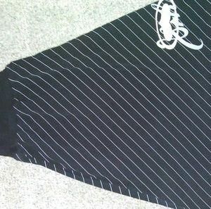 Black dress with white pin stripe