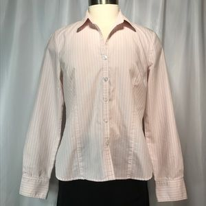 George peach stripe ladies dress shirt  SZ M