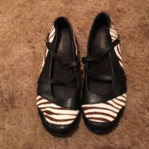 Black ballet flats with brown& white calf hair