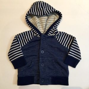 Navy striped button hooded top 0-3m